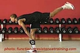 Trainer exercises deadlift